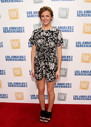 Brooklyn Decker chose this floral frock with a cinched waist for her look at the LA Screenings.