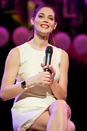 Ashley Greene wore an 18-carat gold plated cuff with checkerboard-cut black onyx cz along with cluster Marquise stud earrings, also 18-carat gold plated with black onyx cz at 'The Twilight Sage: Breaking Dawn: Part 1' concert tour.