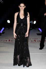 Kristen Stewart wore a black beaded gown with a leather belt for the 'Breaking Dawn' UK premiere.
