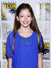 Mackenzie Foy's long straight hair cut was shiny and sleek.