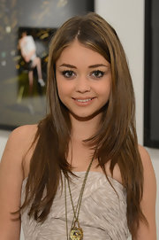 Sarah Hyland wore her hair in long soft layers while attending the Mouthful art exhibit at a private gallery in LA.