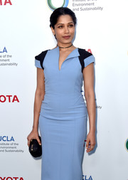 Freida Pinto paired a black hard-case clutch with a two-tone sheath dress for the Innovators for a Healthy Planet event.