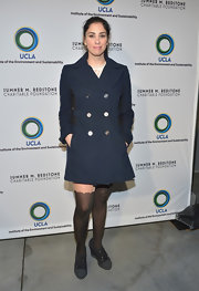 Sarah Silverman looked preppy at the UCLA Evening of Environmental Excellence where she wore a navy pea coat.