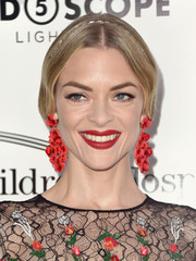 Jaime King attended the Kaleidoscope 5 event wearing red lipstick that was a perfect match to her earrings!