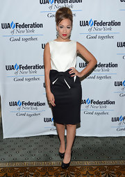 Rebecca Ferguson looked retro-sweet at the UJA-Federation's Music Visionary of the Year Award luncheon in a black-and-white cocktail dress adorned with a huge bow.