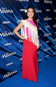 Auli'i Cravalho donned a color-block gown with a fringed sash accent for the UK gala screening of 'Moana.'