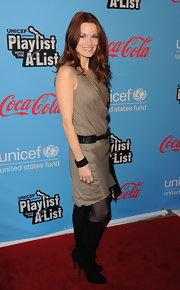 Lauran Leighton arrived at the UNICEF Playlist With the A-List event in LA wearing a pair of sexy black suede boots.