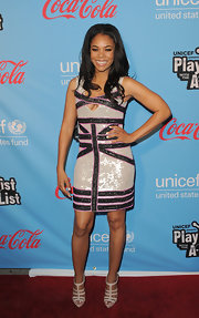 Regina Hall wore this glittering sequined cocktail dress to the UNICEF red carpet.