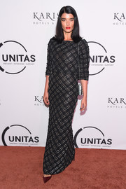 Crystal Renn kept it classy in a black column dress with silver beading at the UNITAS Gala Against Human Trafficking.