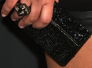 Tiffani Thiessen accessorized with an elegant crystal-studded black clutch at the Moth's Storytelling Tour.