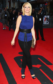 Liz Mcclarnon completed her ensemble with blue suede platform peep-toes featuring wide ankle straps.