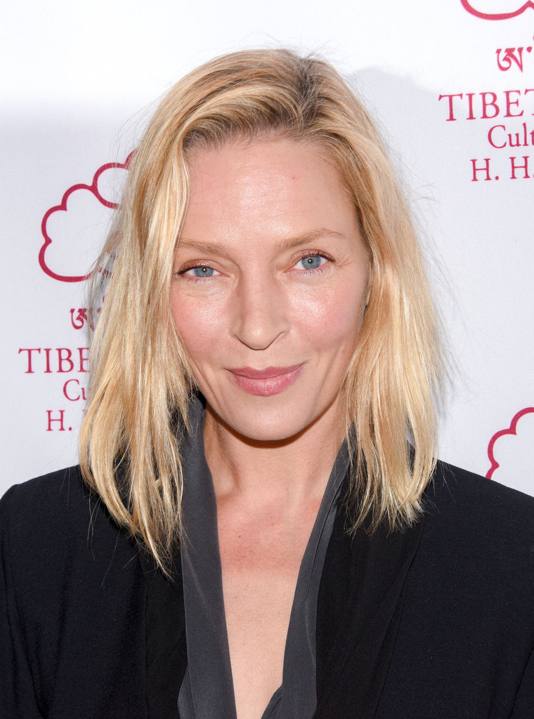 uma thurman hairstyles : Uma Thurman Mid-Length Bob - Mid-Length Bob Lookbook - StyleBistro