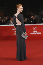 Doborah Ann Woll looked divine at the Rome Film Festival in a backless long-sleeve black gown.