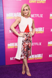 Jane Krakowski chose a Bibhu Mohapatra cocktail dress with a painterly print skirt for the 'Unbreakable Kimmy Schmidt' season 2 world premiere.