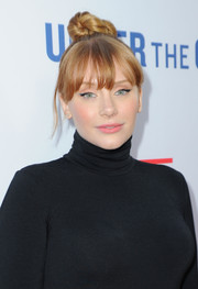 Bryce Dallas Howard swept her hair up into a top knot for the LA premiere of 'Under the Gun.'