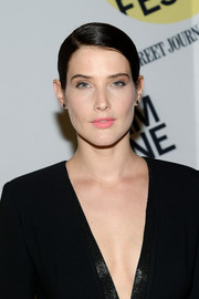 Cobie Smulders went for a soft and subtle beauty look with pink lipstick and neutral eyeshadow.