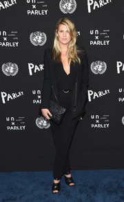 Alexandra Richards kept it conservative in a black pantsuit at the United Nations x Parley for the Oceans launch.