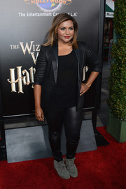 Mindy Kaling went rocker-chic in a black leather pantsuit for the opening of the Wizarding World of Harry Potter.
