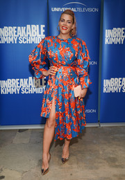 Busy Philipps caught eyes in a brightly hued print dress by Preen at the 'Unbreakable Kimmy Schmidt' FYC event.