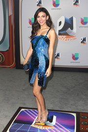 Victoria Justice went glitzy in a Mathieu Mirano sequin dress in various shades of blue for the Premios Juventud Youth Awards.