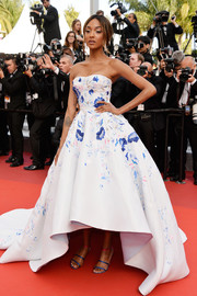 Jourdan Dunn brought a dose of fairytale glamour to the Cannes premiere of 'The Unknown Girl' with this embellished strapless princess gown by Ralph & Russo.