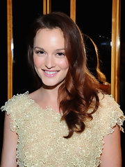 Leighton looks so sweet with this soft pink lip color and rosy make-up glow.
