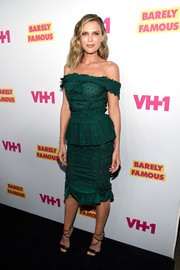Sara Foster charmed in a green eyelet off-the-shoulder dress at the 'Barely Famous' season 2 party.