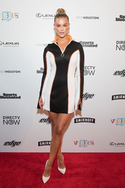 Nina Agdal went the sporty route in a paneled mini dress by Off-White at the VIBES by Sports Illustrated Swimsuit 2017 launch.