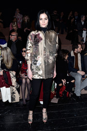 Leigh Lezark attended the Valentino fashion show wearing the most glamorous utility jacket we've ever seen!