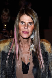 Anna dello Russo showed off a super-sleek pink-streaked hairstyle at the Valentino fashion show.