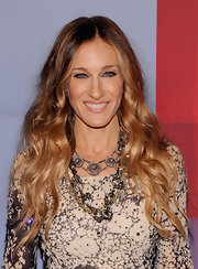 Sarah Jessica Parker wore her hair in long spiral curls and waves at the Valentino Garavani Virtual Museum Launch Party.