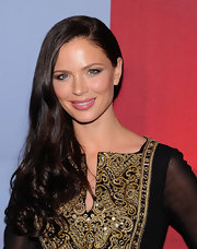 Georgina Chapman wore a shiny medium pink lipstick at the Valentino Garavani Virtual Museum Launch Party.