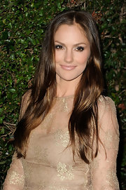 Minka Kelly wore a pearly nude lipstick at the Valentino flagship store opening in Beverly Hills.