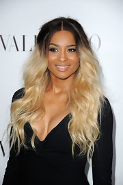 Ciara arrived at the Valentino flagship store opening wearing her two-tone hair in long tousled waves.