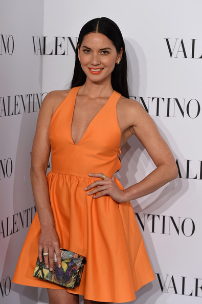 More Pics of Olivia Munn Studded Heels  (1 of 6) - Heels Lookbook - StyleBistro [clothing,orange,dress,cocktail dress,hairstyle,shoulder,fashion model,fashion,premiere,neck,arrivals,valentino sala bianca 945,olivia munn,new york city,event]