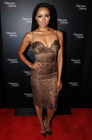 Kat Graham looked oh-so-hot in a slinky bronze cocktail dress during the 'Vampire Diaries' 100th episode celebration.