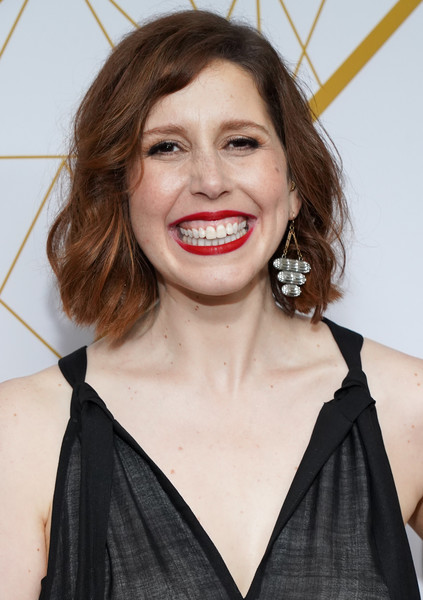 Vanessa Bayer Short Wavy Cut [hair,face,hairstyle,lip,eyebrow,beauty,skin,chin,smile,tooth,san vincente bungalows,west hollywood,california,showtime emmy eve nominees celebrations,vanessa bayer]