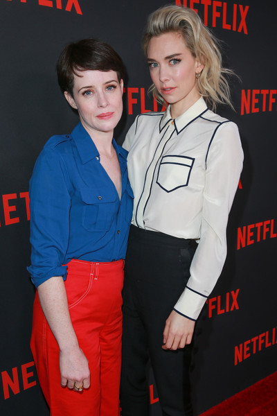 Vanessa Kirby Button Down Shirt [clothing,premiere,carpet,event,flooring,sleeve,vanessa kirby,claire foy,for your consideration,saban media center,netflix,the crown,red carpet,l,event,event]
