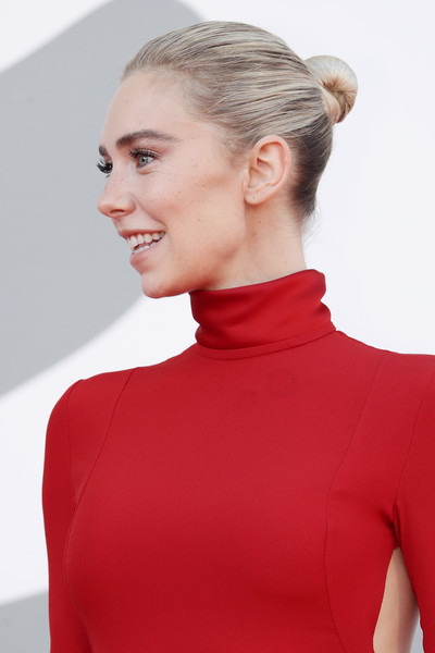 Vanessa Kirby Classic Bun [pieces,movie,hair,shoulder,neck,clothing,hairstyle,red,chin,fashion,joint,blond,red carpet,woman,red carpet,hair,sleeve,shoulder,neck,77th venice film festival,sleeve]