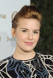 Maggie Grace attended the 'Vanity Fair' and Juicy Couture 20th Anniversary Party wearing a sheer pink shimmering lip gloss.