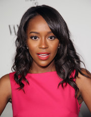 Aja Naomi King oozed sweetness with this curly 'do teamed with a pink frock at the Fiat Young Hollywood celebration.