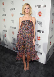 Brooklyn Decker went for a breezy boho look in a tiered print dress with spaghetti straps and a busy print during the Fiat Young Hollywood celebration.