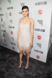 Victoria Justice showed some skin in a sheer, beaded cocktail dress by Naeem Khan at the Fiat Young Hollywood celebration.