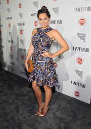 Kelly Brook cut a shapely figure in a Kenzo fit-and-flare print dress during the Fiat Young Hollywood celebration.