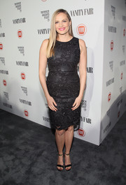 Vinessa Shaw kept it classic in a sleeveless lace LBD at the Fiat Young Hollywood celebration.