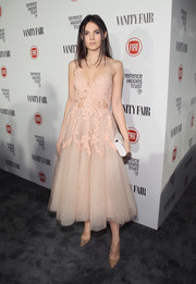 Doina Ciobanu looked ethereal at the Fiat Young Hollywood celebration in a blush-colored one-shoulder dress with an appliqued bodice and a full tulle skirt.