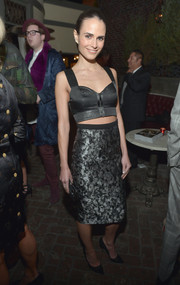 Jordana Brewster paired her crop-top with a gray brocade pencil skirt for a totally sophisticated look.