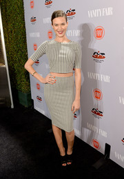 Odette Annable did matchy-matchy right with this pencil skirt and crop-top combo.