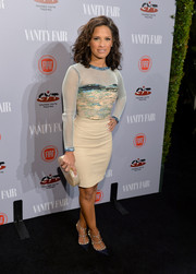 Rocsi Diaz teamed her top with a nude leather pencil skirt that hugged her curves perfectly.