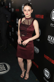Joey King went modern in a wine-colored Christopher Kane dress with a cutout bodice for the Vanity Fair and Fiat Young Hollywood celebration.